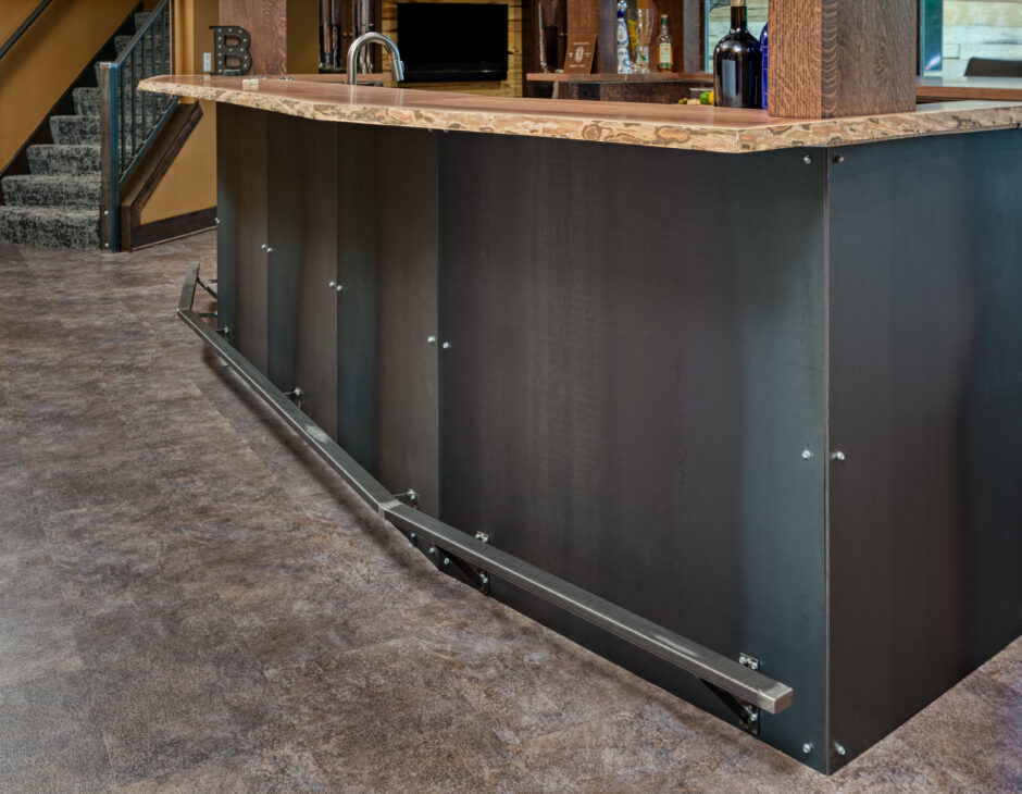 Bar detail steel rolled panels live edge